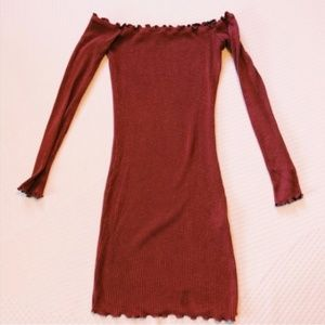 Rust red off shoulder lettuce hem bodycon dress